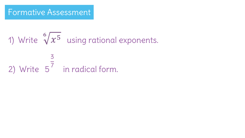 Rewrite Expressions Involving Radicals And Rational Exponents By