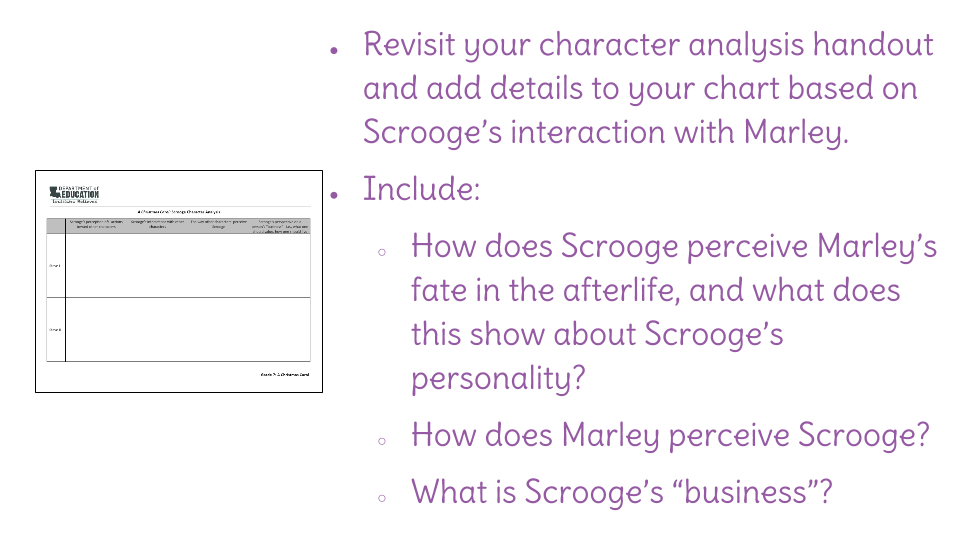 Lesson 7: Analyze Scrooge's interaction with Marley, what it