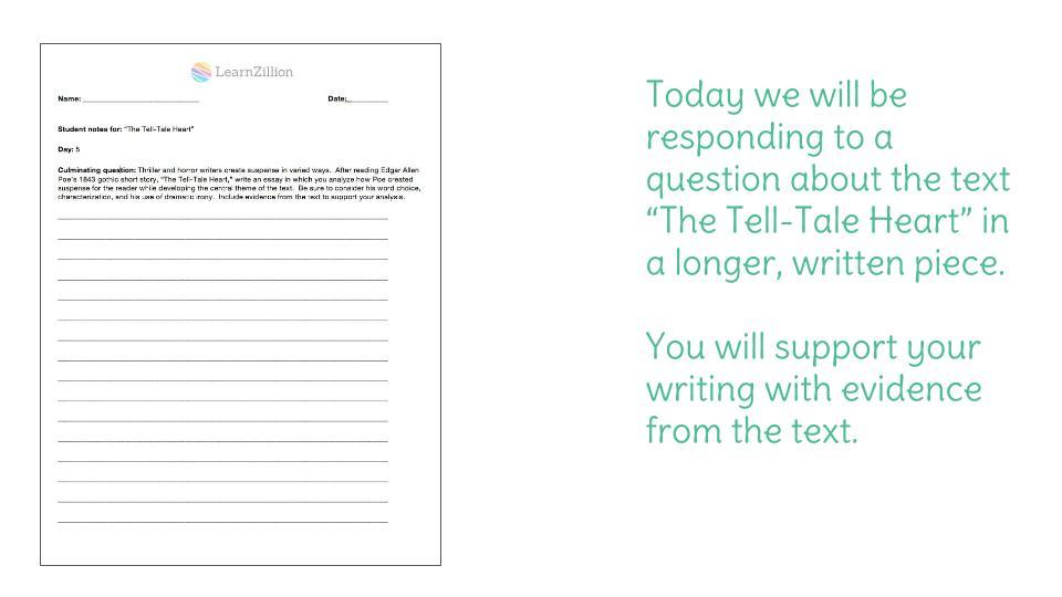 Day 5 The TellTale Heart – Tell Tale Heart Worksheet