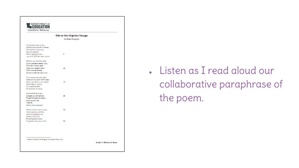 how to paraphrase a poem line by line