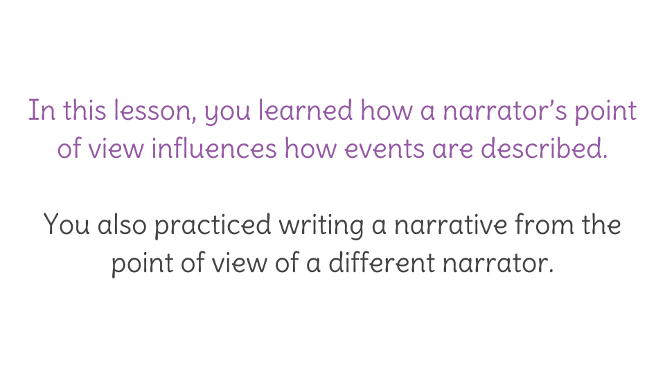 Lesson 16: Writing a narrative from the point of view of a ...
