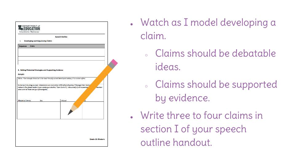 Lesson 13: Developing and Logically Sequencing Claims for a
