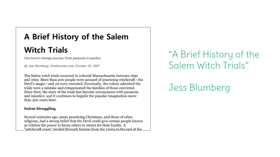 Day 2 A Brief History of the Salem Witch Trials – Salem Witch Trials Worksheet