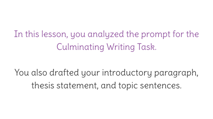 Lesson  Culminating Writing Task Introduction Thesis  View Resource Copy Resource Id