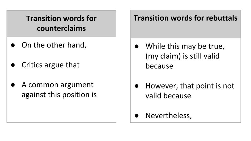 rebuttal transitions
