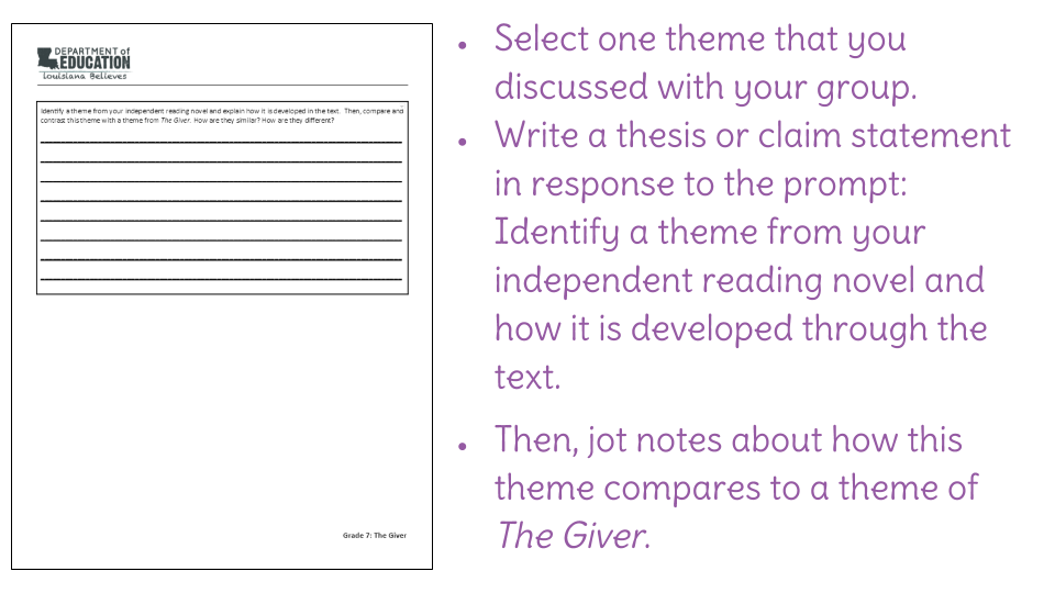 thesis statement for the giver