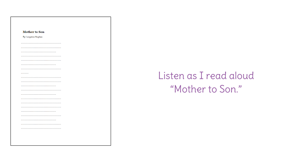 summary of mother to son by langston hughes