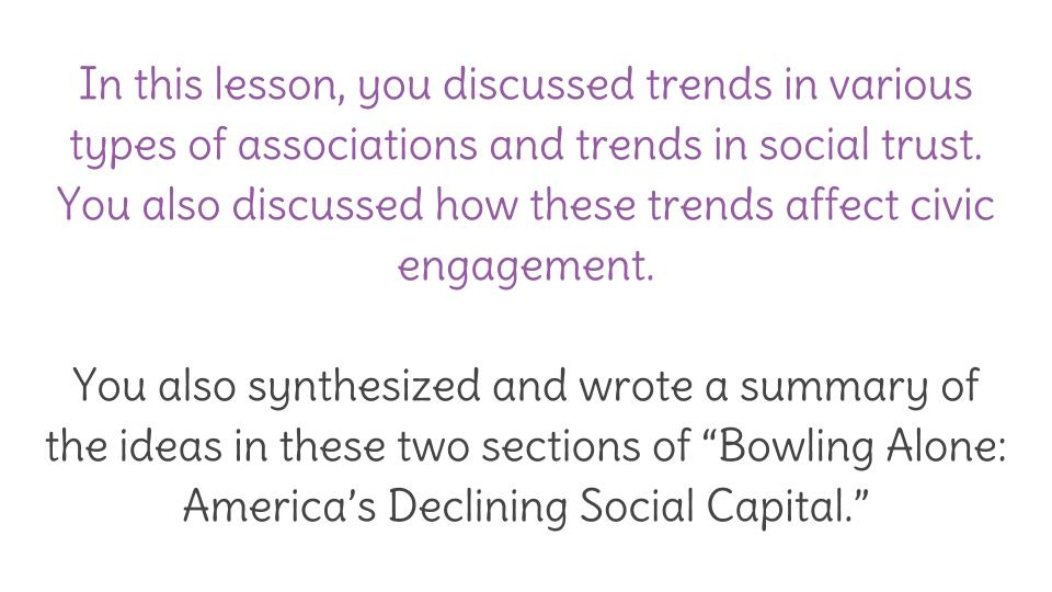 lesson bowling alone america s declining social social  view resource copy resource id