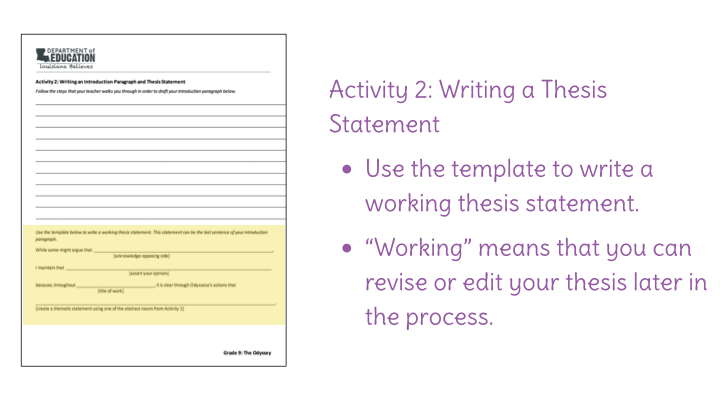 lesson  culminating writing task introduction thesis statement  download
