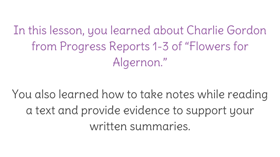 Lesson 4 Character Analysis In Flowers For Algernon Learnzillion