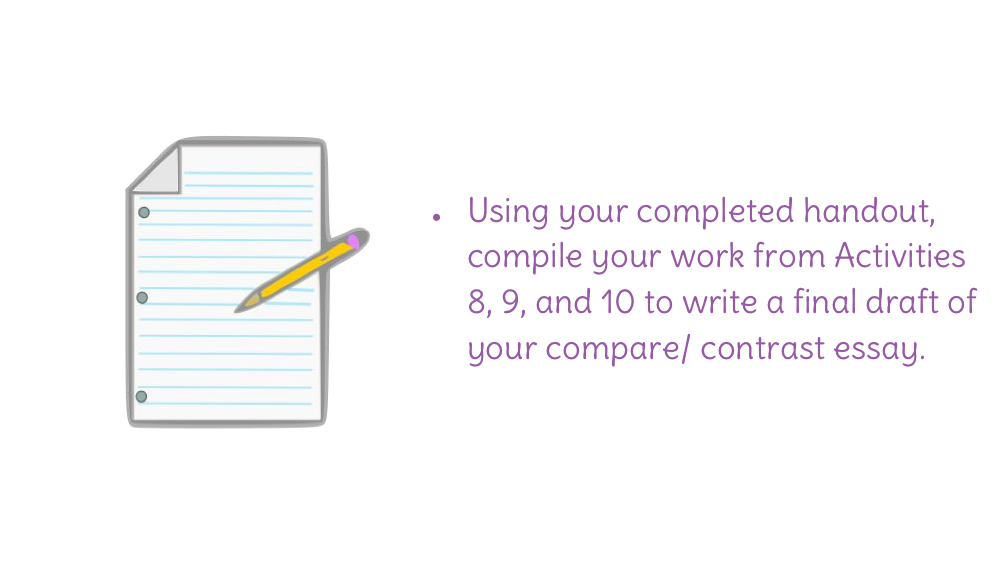 compare and contrast essay final draft I have students write the compare/contrast essay next because it is an easy genre for them to develop topics be sure and type both the rough draft and final essay.