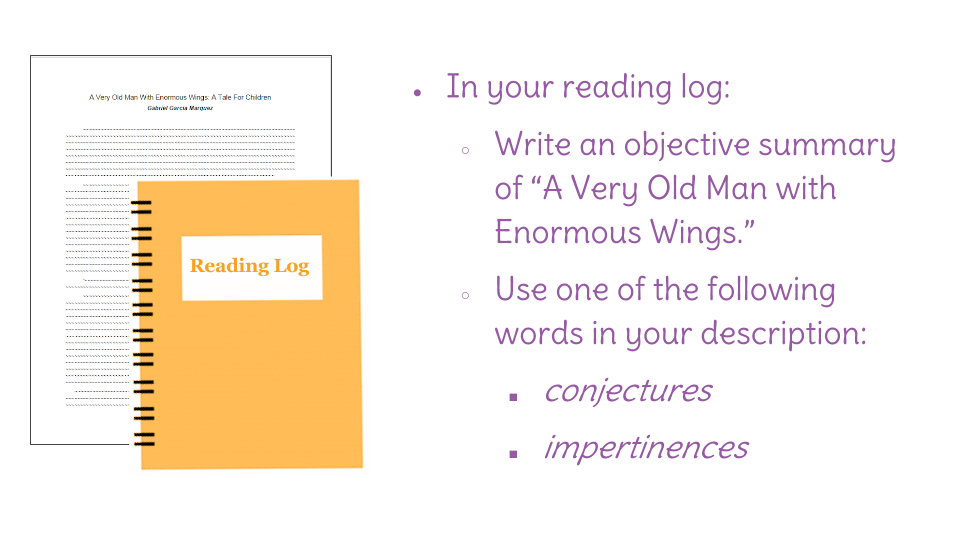 "lesson and summarize ""a very old man enormous wings  view resource copy resource id"