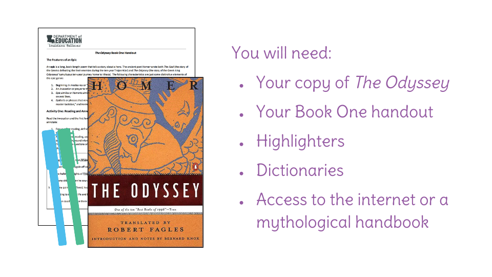 Lesson 6: Connecting device to meaning in The Odyssey