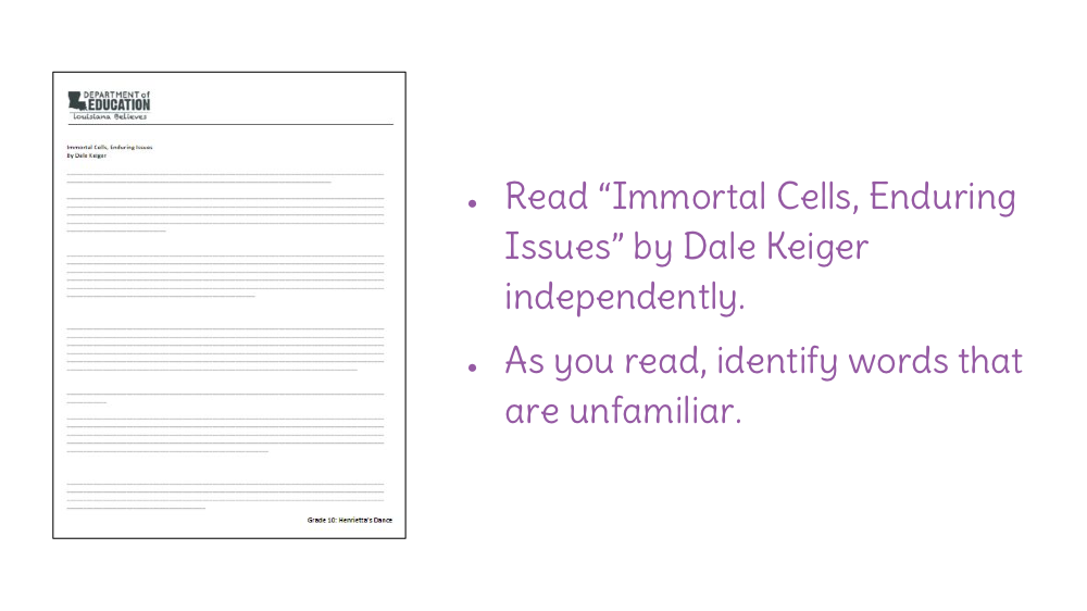 Lesson 6 Summarize Immortal Cells Enduring Issues By Dale Keiger