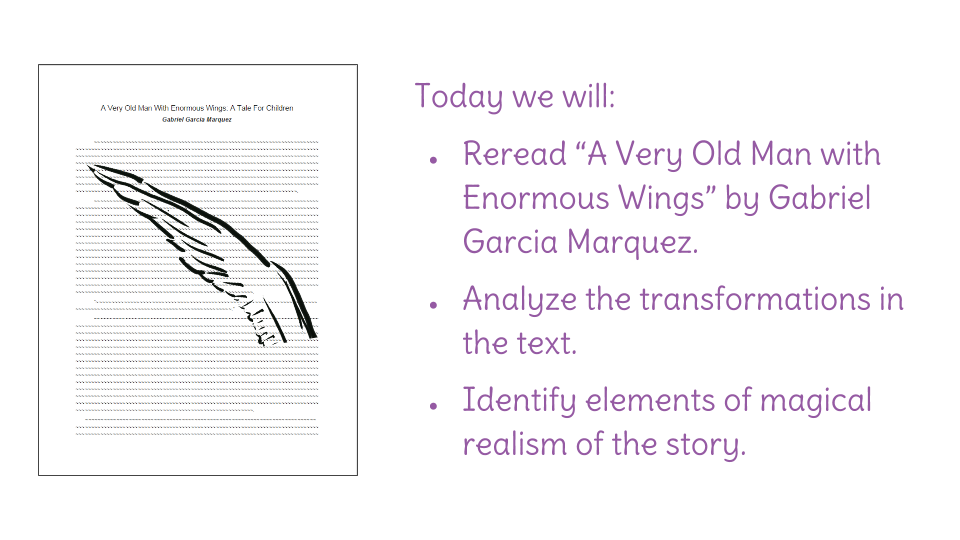 a very old man with enormous wings magical realism