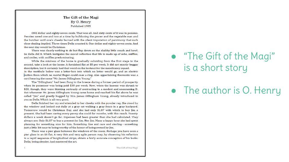 Day 1 The Gift of the Magi – The Gift of the Magi Worksheet
