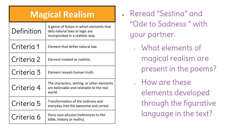 Lesson 25 Discuss Elements Of Myth And Magical Realism In Sestina