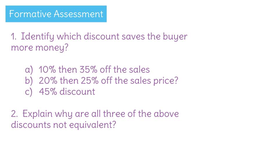 Solve Percent Problems Involving Multiple Discount Scenarios By