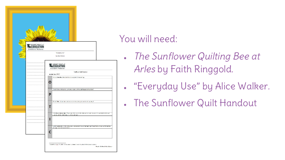 Lesson 13 Analyze The Sunflower Quilting Bee At Arles And The