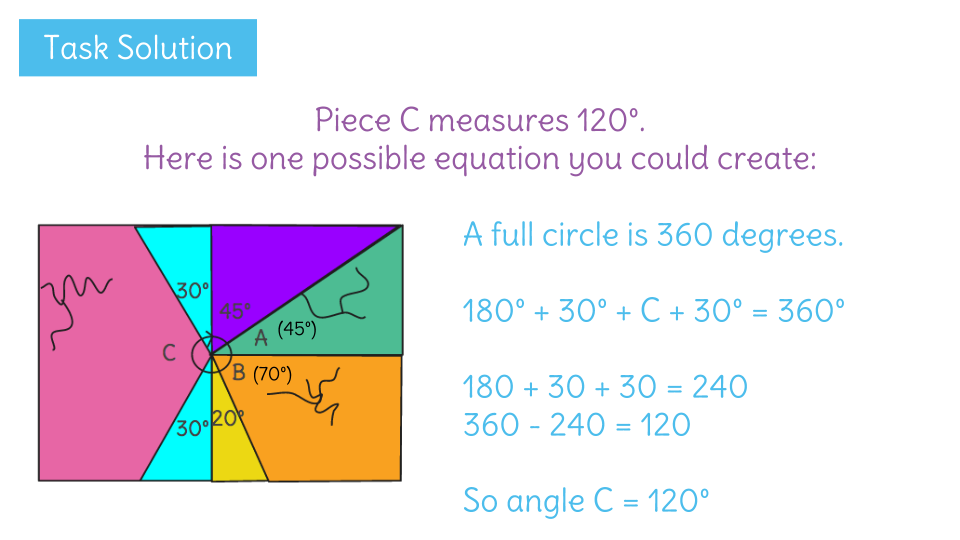 Find unknown angles by using angle properties | LearnZillion