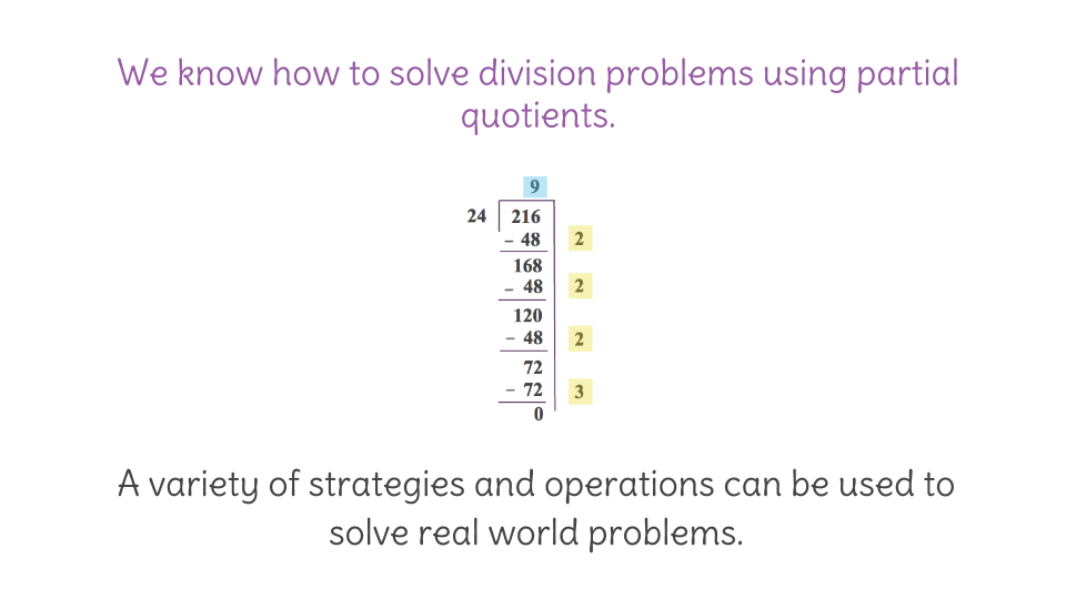 14. partial quotients to solve division problems (fp) | learnzillion