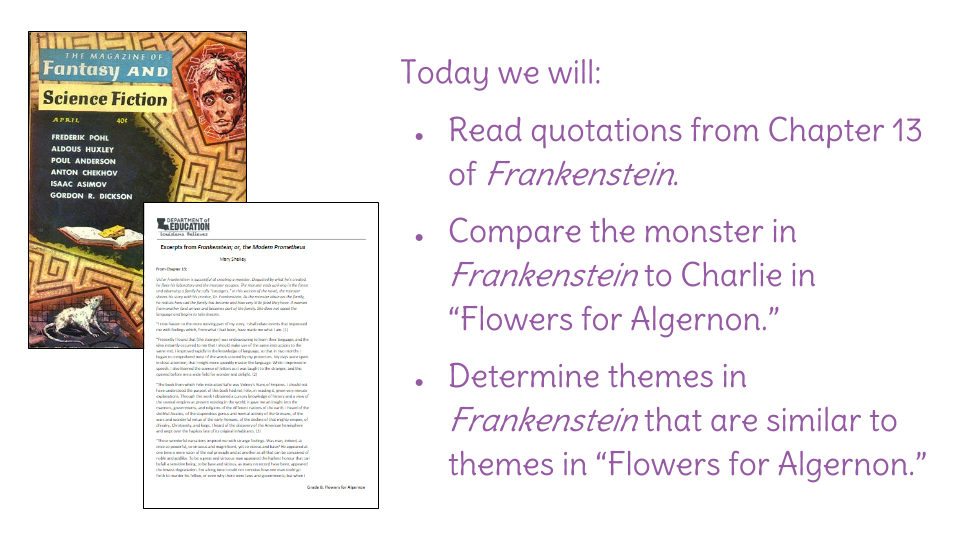 Lesson 25 Compare Flowers For Algernon And Frankenstein