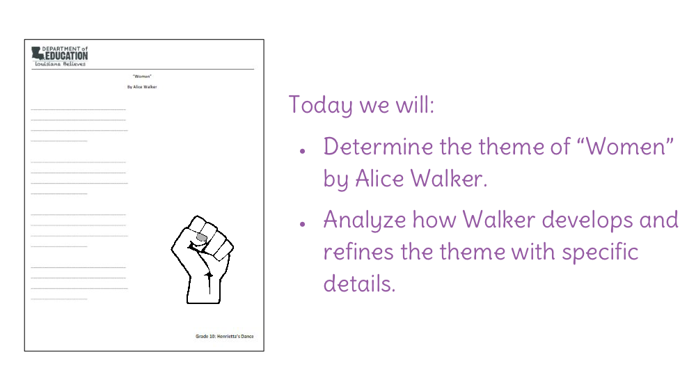 Lesson 16 Determine The Theme Of Women By Alice Walker Learnzillion