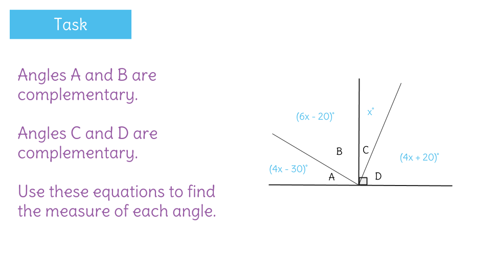 Solve for missing complementary angles by writing equations – Complementary Angles Worksheets