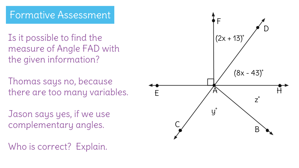 Solve For Missing Complementary Angles By Writing Equations