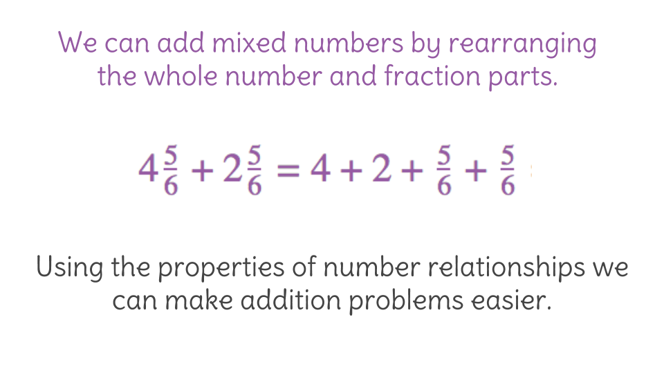 3. Adding mixed numbers using the associative and commutative ...