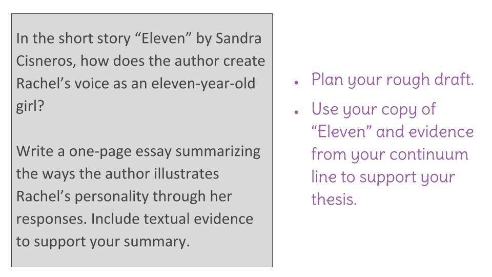 "lesson write an analysis of voice in ""eleven"" learnzillion view resource copy resource id"