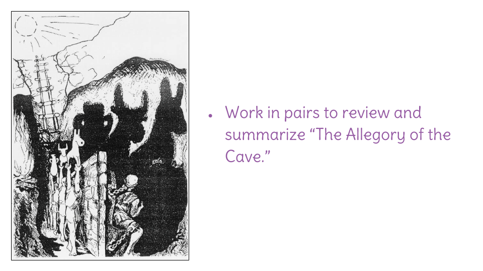 allegory of the cave summary Plato, republic, book vi: the allegory of the cave the son of a wealthy and noble family, plato (427-347 bc) was preparing for a career in politics when the trial and eventual execution of socrates (399 bc) changed the course of.