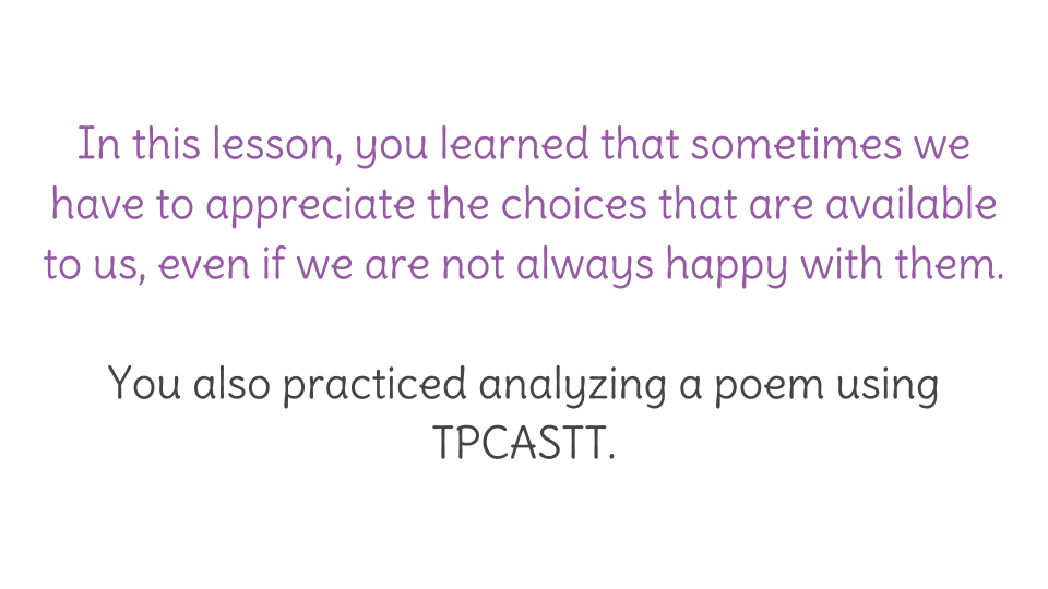 Lesson 32 Using Tpcastt To Analyze Poetry Learnzillion