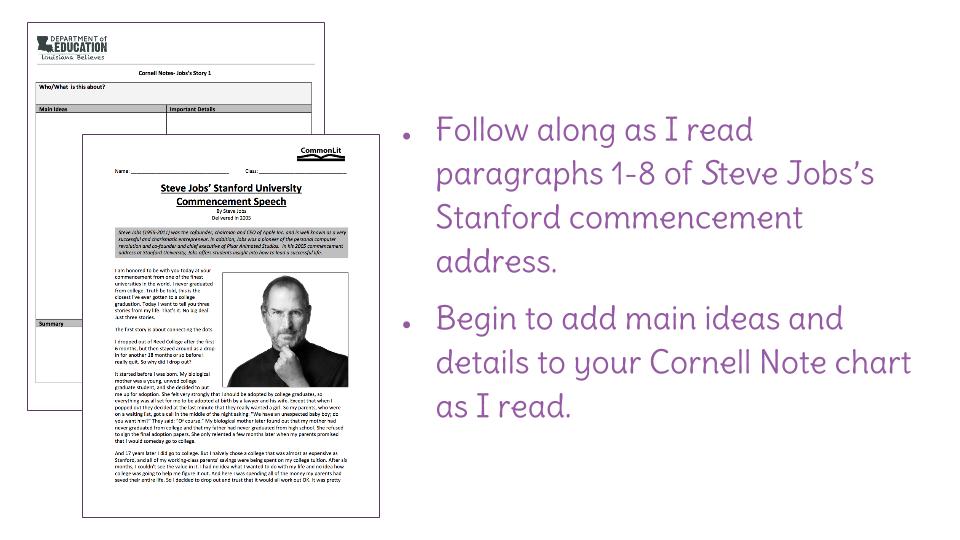 Lesson 2: Summarizing Jobs's commencement address | LearnZillion