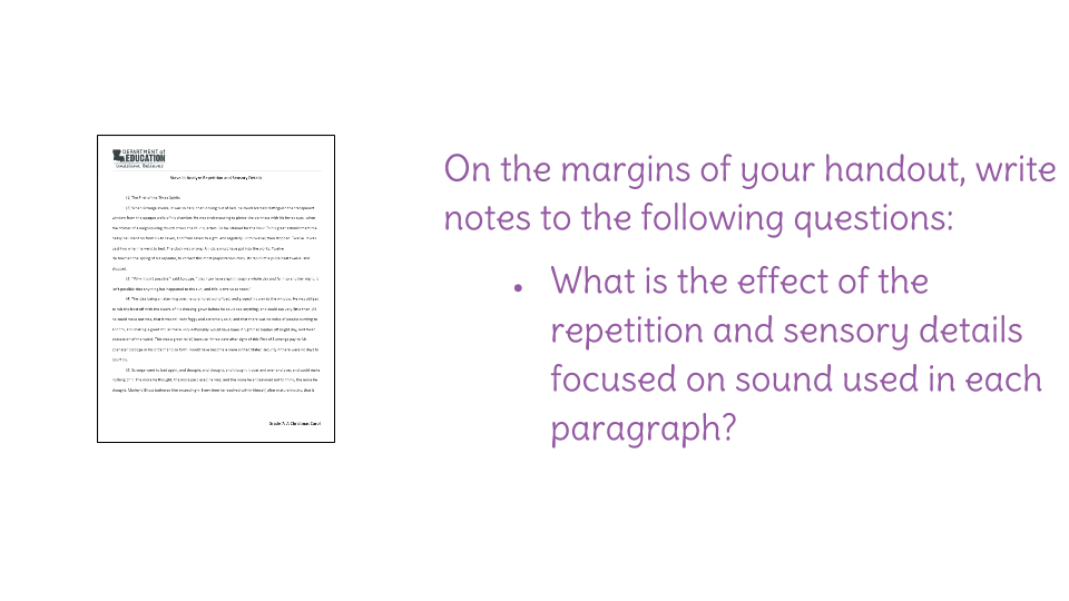 Lesson 8: Analyze the use of repetition and sensory details