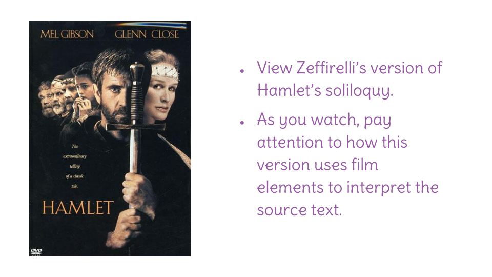 a look at the soliloquy of hamlet Lesson title: talking to myself: an introduction to hamlet's soliloquy from act iii  you're going to look more closely at hamlet's famous soliloquy to see how.