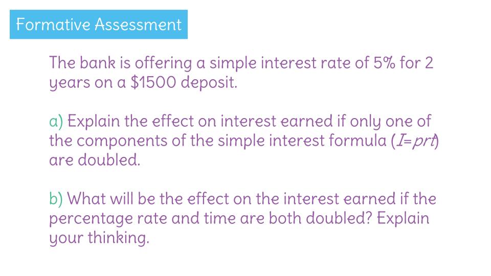 Use simple interest to solve a real world savings account problem – I Prt Worksheet