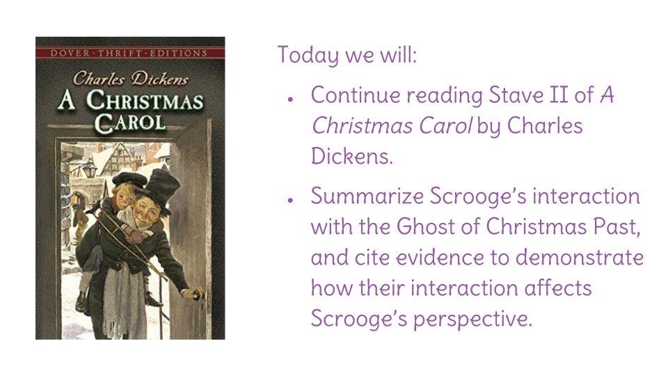 Lesson 9 Summarize Scrooge S Interaction With The Ghost Of Christmas Past Learnzillion