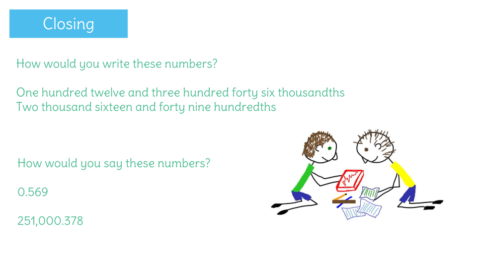 Read And Write Decimals To The Thousandths Place In Words And