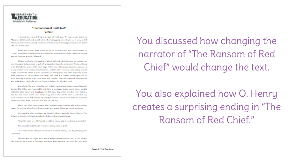Lesson 7 Irony in The Ransom of Red Chief – Irony Worksheet