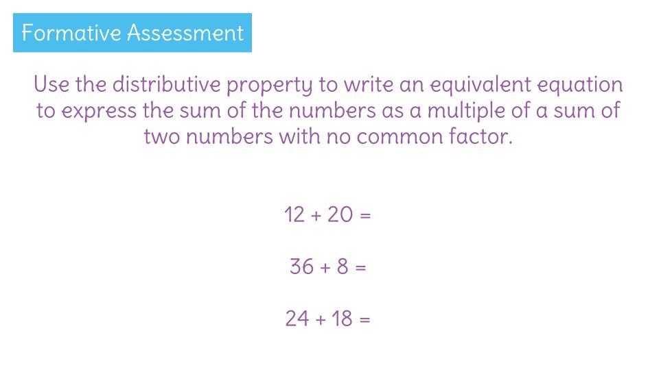 Rewrite addition problems by using greatest common factors